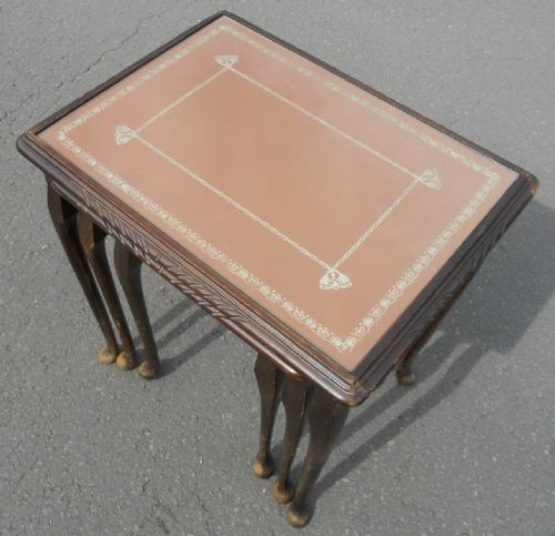 Tan Leather Top Nest of Coffee Tables